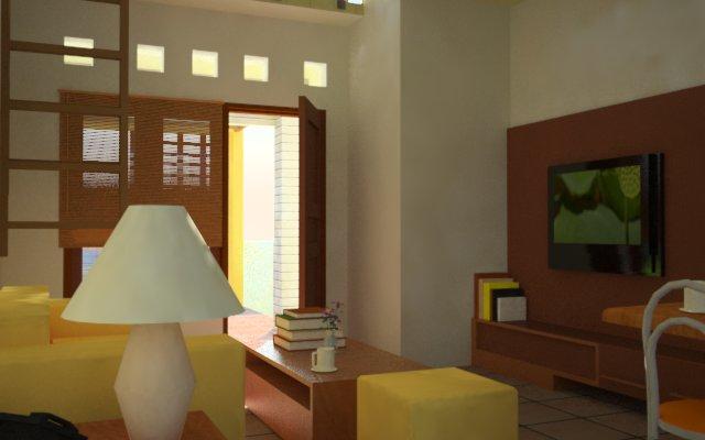aplikasi warna kuning pada sofa